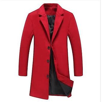 Men's Jackets Long, Solid Color, Single-breasted Coat, Casual Overcoat