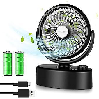 ELZO USB Fan, Mini Silent Electric Fan, Desk Fan Powered by USB and 4800mAh Rechargeable Batteries