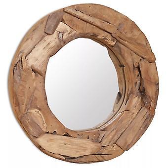 Decoratieve spiegel teak 60 cm rond
