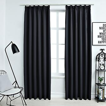 vidaXL Blackout curtains with hook 2 pcs. black 140x245cm