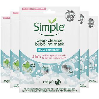 5x Simple Bubbling Deep Cleanse Sheet Mask With Hazel, Charcoal Fiber & Zinc,25g