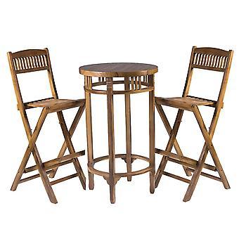 Weerbestendige buiten tuin houten tafel en 2 hoge zitplaatsen meubilair set