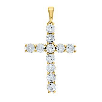 925 Sterling Silver Mens Gele toon CZ Cubic Zirconia Gesimuleerde Diamond Cross Religieuze Hanger Ketting Charme Sieraden