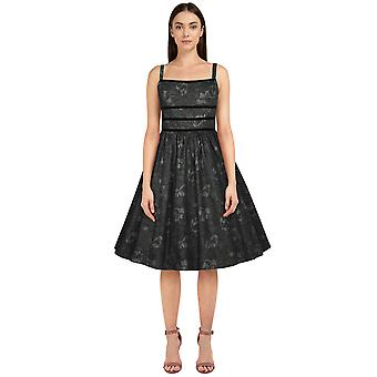 Chic Star Trims Retro Dress In Gray Floral