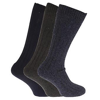 צמר Mens תערובת גרביים אורך ארוך עם סוליות מרופד (חבילת 3)
