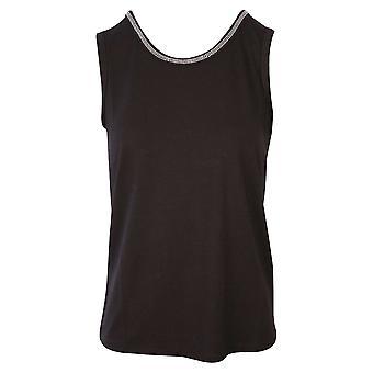 Passioni Black Sleeveless Vest Top With Round Diamante Detail Neck