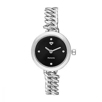 Kate reloj de mujer diamantes 0.012 quilates - negro dial pulsera de metal plateado