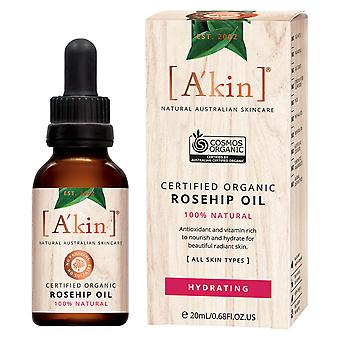 A'kin Certified Organic Rosehip Oil Hydrating Natural Blemish Skin Care 20ml
