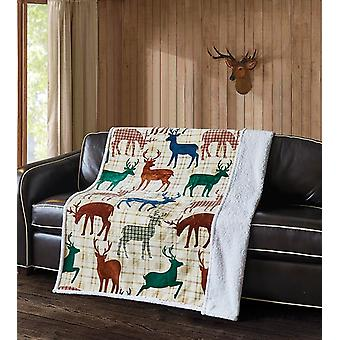 Spura Home Pictorial Deer Life Flannel Transitional Sherpa Throw