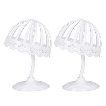 2 Pcs 40cm Height 20cm Plastic Hat Display Rack Elastic Adjustable Cap Showing Stand Tabletop Wig Stand Hat Display Holder (white)