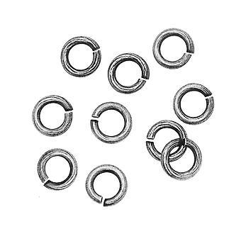 Nunn Design Jump Ring, Bark Texturerad Öppen 16 Gauge, 6.5mm, 10 Stycken, Antikt Silver