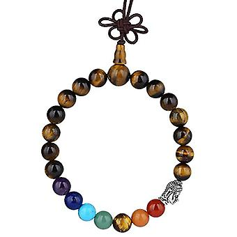 KYEYGWO 21 Mala Bracelet with Crystal Beads Chakra, unisex, Reiki Stretch and League, color: Tiger eye stone (7 chakra Ref. 0715444069116