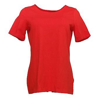Susan Graver Women's Top Weekend Essentials Comfy Cotton Knit Red A394808