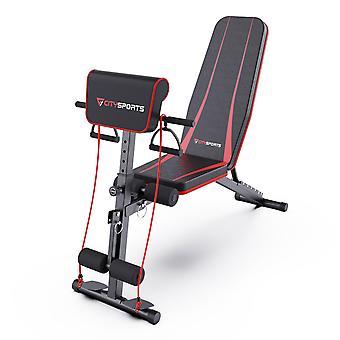 Multifunktionsjusterbar bænk, justerbar gymbænk, sammenklappelig fitnessbænk med vægte, justerbart fitnessudstyr til maveøvelser (S1)