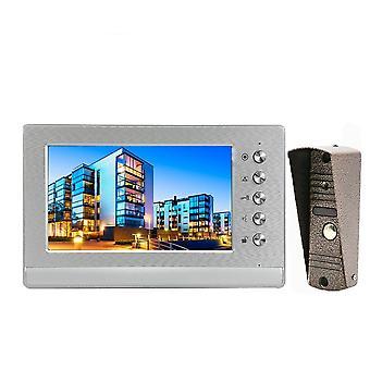 7 tums trådbunden videodörringång Intercom-system