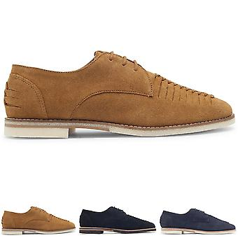 Mens H By Hudson Chatra Suede Smart Work Office Flat Wedding Plait Shoes