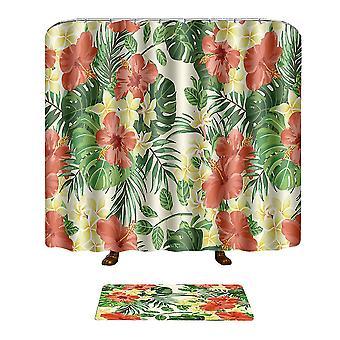 Plant Printing Shower Curtain Non-slip Mat Combination