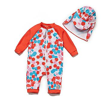 Infant Girls One PieceSwimsuits UPF 50+ Sun Protection 3/4 Sleeves Full-zip Sunsuit