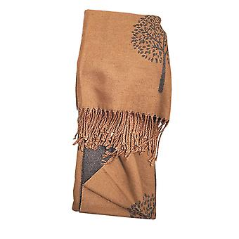 Reversible Tree of Life Camel Ladies Scarf by Butterfly Fashion London