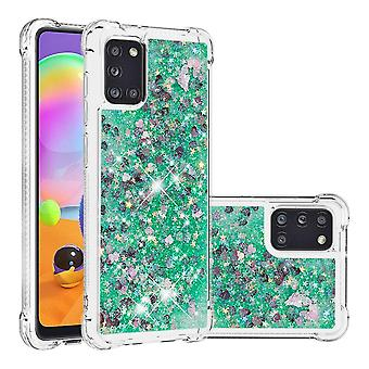 Case For Samsung Galaxy A31 Bumper Cover Sparkly Glitter Bling Flowing Liquid - Green