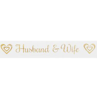 20m White 15mm Wide Husband & Wife Gold Printed Ribbon for Crafts
