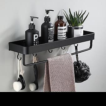 Черная угловая полка для ванной комнаты Настенная