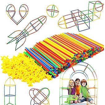 Stro constructeur stam gebouw speelgoed in elkaar grijpen plastic educatief speelgoed (300PCS)