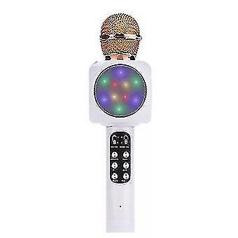 Professionnel bluetooth microphone sans fil haut-parleur portable lecteur de musique karaoké (Blanc)
