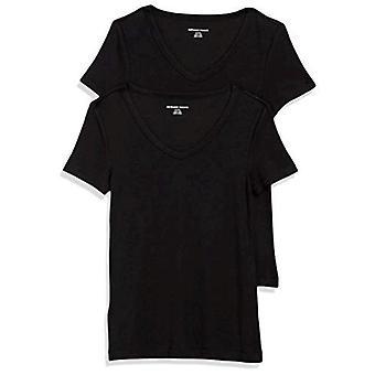 Essentials dame 2-pakning Slim-Fit Kortermet V-Neck T-skjorte