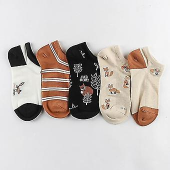 5 Pairs set of cotton summer spring socks, themed(Fox Style 1)