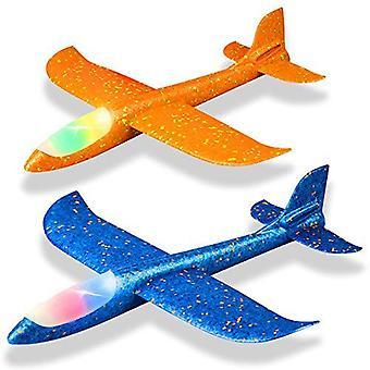 """2 חבילת הוביל מטוס קל, 17.5"""" גדול לזרוק מטוס קצף, 2 מצב טיסה דאון מטוס, טיסה טובין לילדים, מתנות עבור 3 4 5 6 7 8 ילד בן 9, בחוץ"""