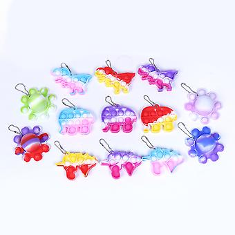 13 Pcs Mini Pop It Keychain Fidget Toy Pack, Push Pop Bubble Simple Dimple Sensory Toys, Silicone Pressure Relieving Toys, Squeeze Toys For Kids, Adul