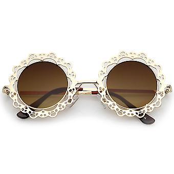 Женщин в открытых металлических вырезом кружева плоский объектив круглые очки 44 мм