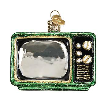 Old World Christmas Retro Look Tube TV Holiday Ornament Glass 2.5 Inches