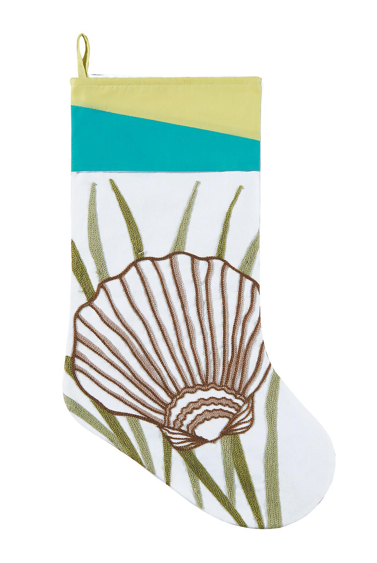 Coastal Rice Stitch Scallop Seashell in Seaweed White Christmas Holiday Stocking