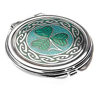 Enamelled Rhodium Plated Shamrock Celtic Compact Mirror