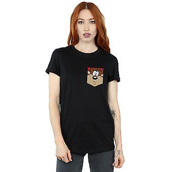 Looney Tunes Women's Tasmanian Devil Face Faux Pocket Boyfriend Fit T-Shirt