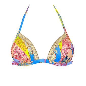 Maryan Mehlhorn 5689/514/404 Women's Art Multicoloured Porcelain Mix Bikini Set With Gold Chain Neck