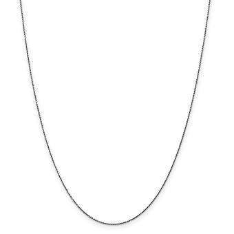 14k White Gold Spring Ring .6mm kiinteä kiillotettu kaapeli Chain kaulakoru - pituus: 14-24
