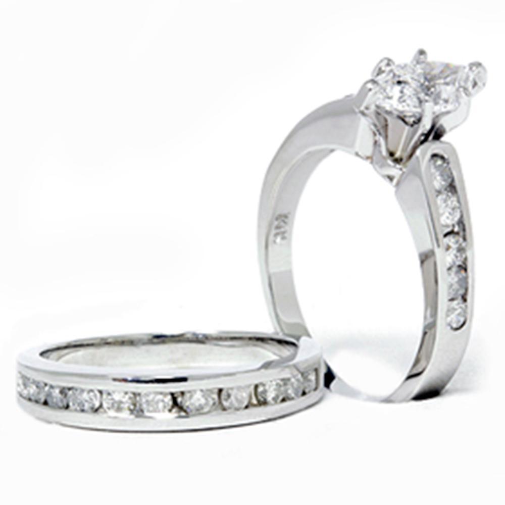 2 Carat Marquise Enhanced Diamond Engagement Wedding Ring Set White Gold 14karat