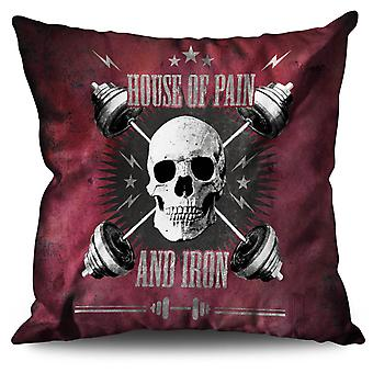 Skull Iron Gym Pain Sport Linen Cushion 30cm x 30cm | Wellcoda