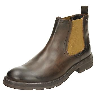 Mens Base London Chelsea Boots Challenger - Washed Brown Leather - UK Size 7 - EU Size 41 - US Size 8