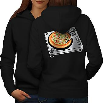 Pizza Dj Mix Music Food Women BlackHoodie Back | Wellcoda