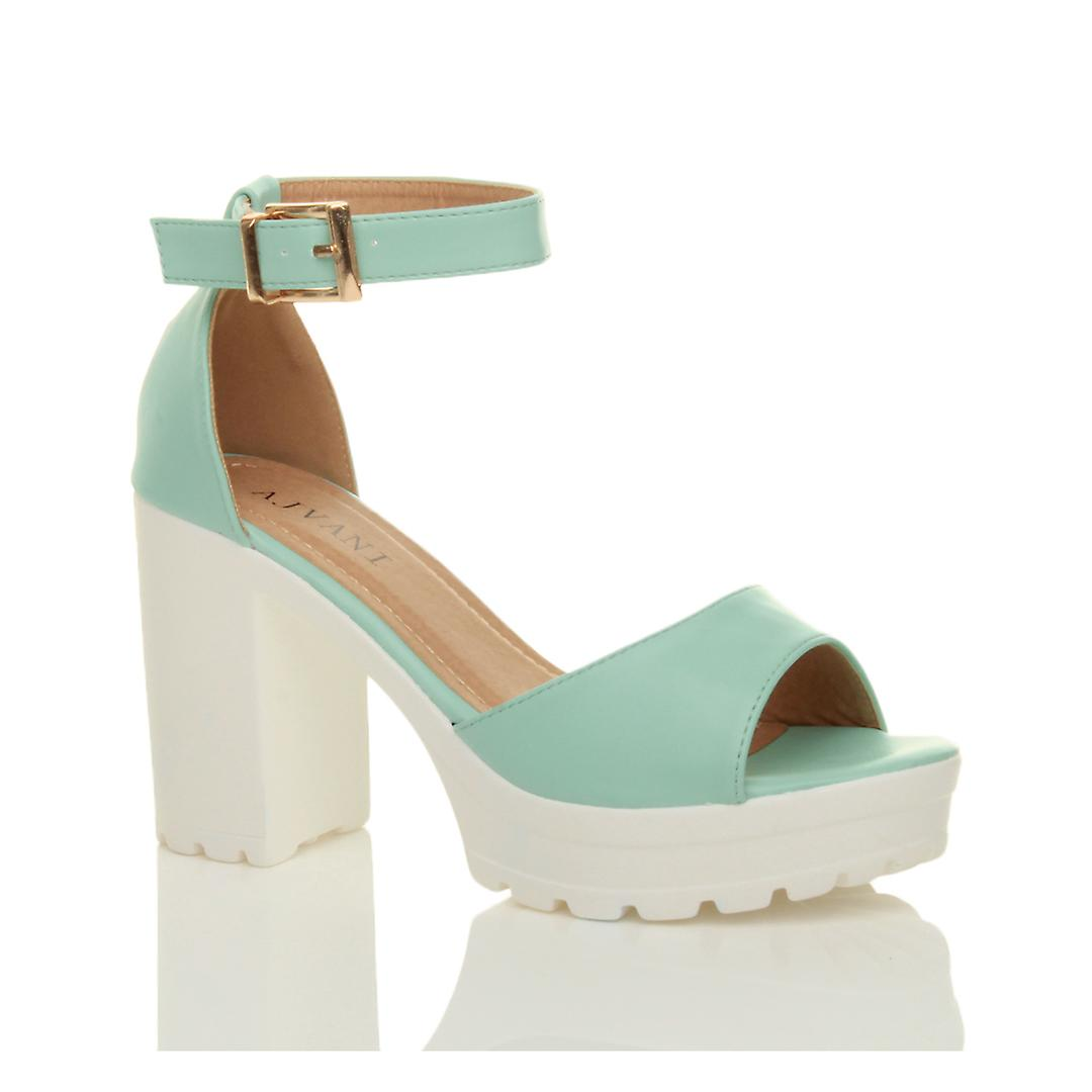 Ajvani womens high heel platform cleated ankle strap peep toe shoes sandals BuNF2