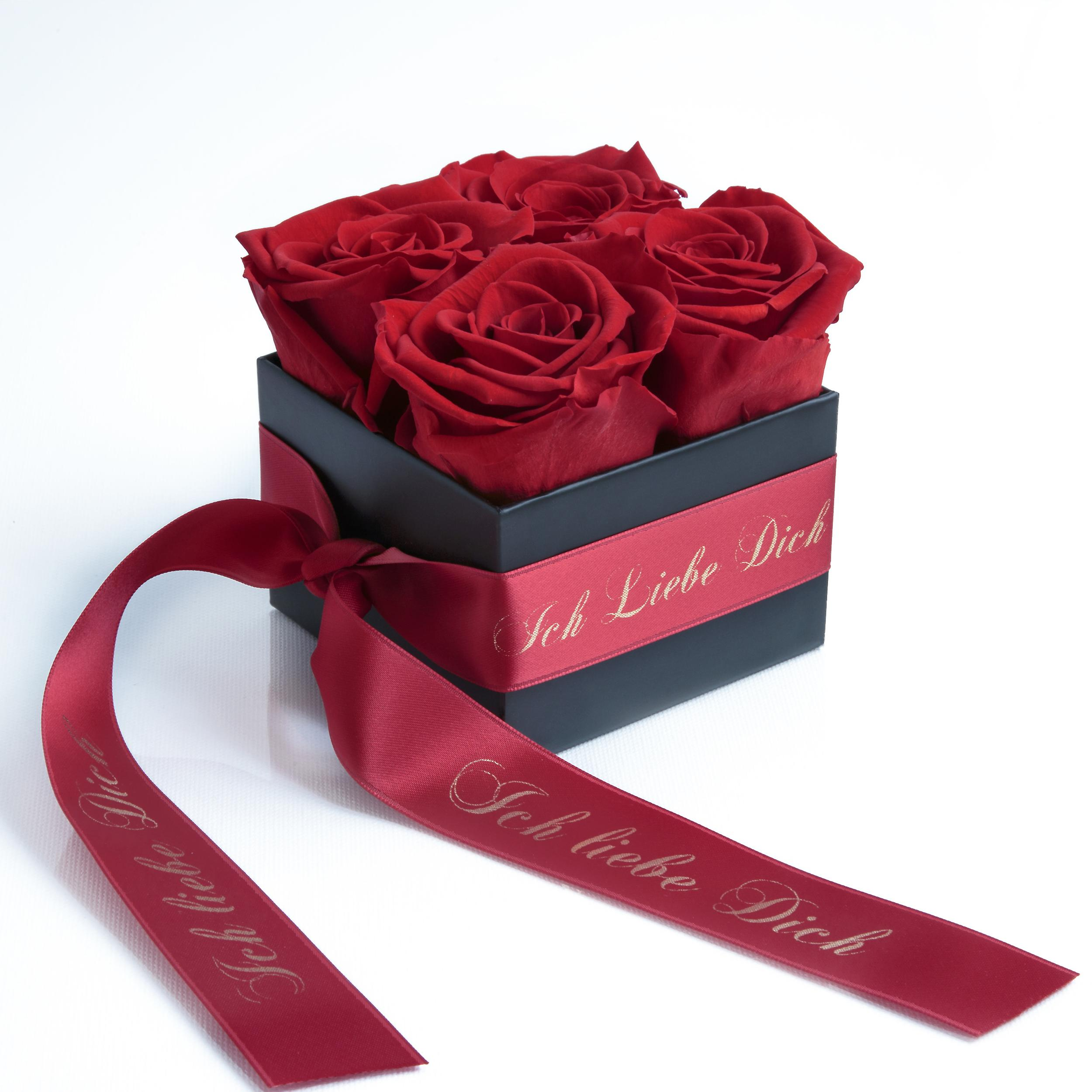 I love you box with 4 preserved roses red and satin band stable three years