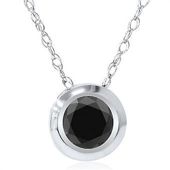 1ct AAA Black Diamond Solitaire Bezel hänge 14K vitt guld
