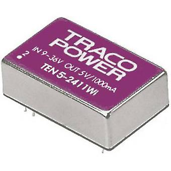 TracoPower TEN 5-2411WI DC/DC converter (print) 24 V DC 5 V DC 1 A 5 W No. of outputs: 1 x