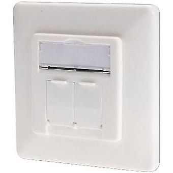 Network outlet Flush mount Insert with main panel and frame CAT 6 2 ports Digitus DN-9005-KL-N Pure white