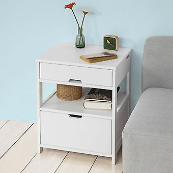 SoBuy Home Wood Beside End Table avec 2 Tiroirs, Blanc,FRG258-W