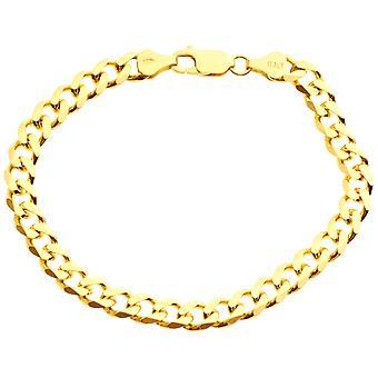 斯特林 925 银罐链手镯 - CURB 6.7mm 黄金